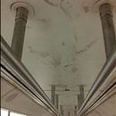 dirty sneaker marks on ceiling of L train