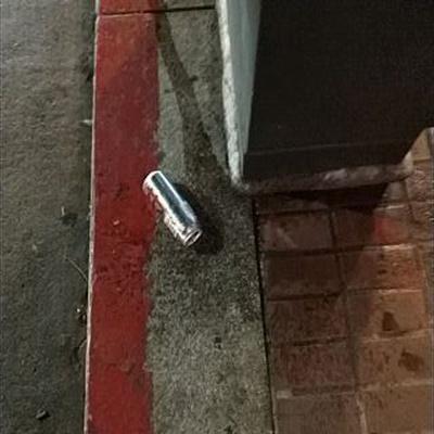 Trash near USPS, Eddy Street, Union Square, San Francisco, California, 94104, United States